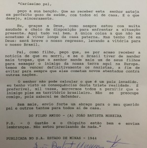 Carta redigida a seu pai durante a guerra.