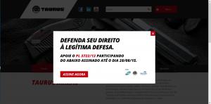 Apoio da Taurus ao PL3722/12 - pode ser visto no site da empresa: www.taurusarmas.com.br
