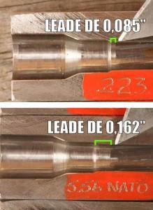 Diferença entre o leade de um armamento em .223 Remington e de um em 5,56x45mm NATO