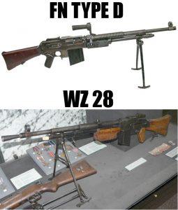 FN Type D acima e WZ 28 polaco abaixo.